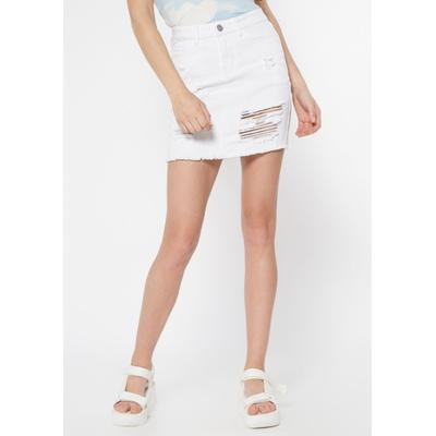 Rue21 Womens White Ripped Jean Skirt - Size M
