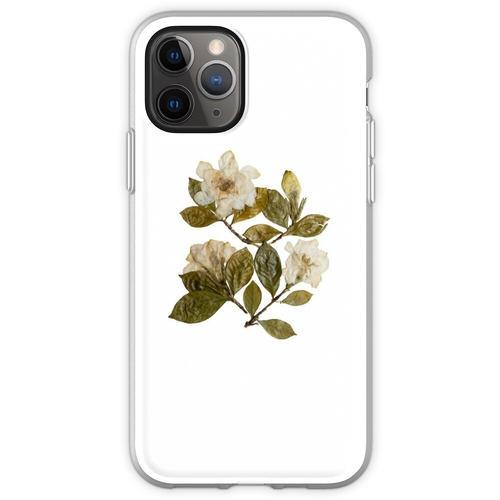 Gepresste Gardenien, Gardenia Blumen, Gardenia Kunst, Gardenia Coll Flexible Hülle für iPhone 11 Pro