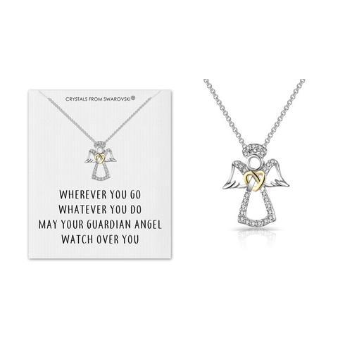 Schutzengel-Halskette mit Swarovski® Kristalle und Zitatkarte: 2
