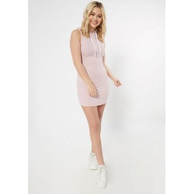 Rue21 Womens Pink Ribbed Knit Hooded Bodycon Dress - Size M