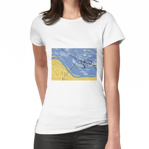 Drähte und eine Laterne auf dem Hintergrund der Stadt Frauen T-Shirt