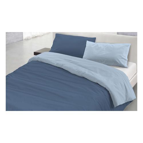 Bettbezug-Set: Petroliumgrün Grau / 250 x 200 cm