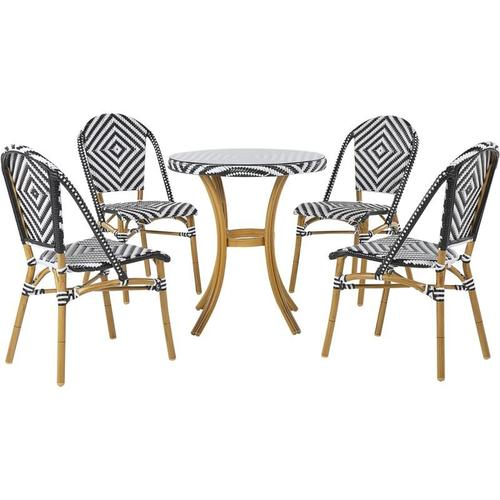 Beliani - Lounge 4er Set in Rattan in Schwarz und Weiß mit rundem Couchtisch Dekorativ Elegant