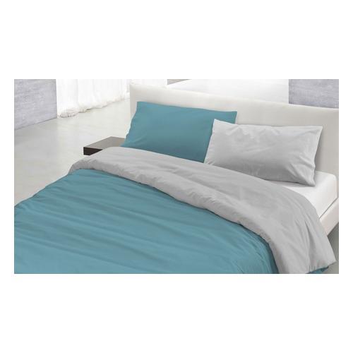 Bettbezug-Set: Petroliumgrün Grau / 150 x 200 cm