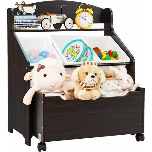 Spielzeugregal mit rollbarem Fach, 3 kleinen Aufbewahrungsboxen und Ablage, Spielzeugschrank,