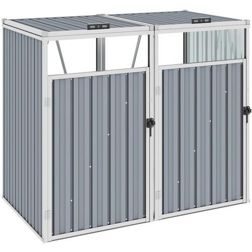 Mülltonnenbox für 2 Mülltonnen Grau 143×81×121 cm Stahl
