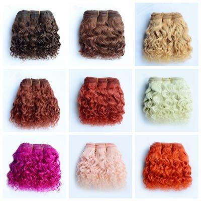Perruque bouclée en laine pour poupée BJD/SD/américaine, extensions de cheveux, trame de cheveux,