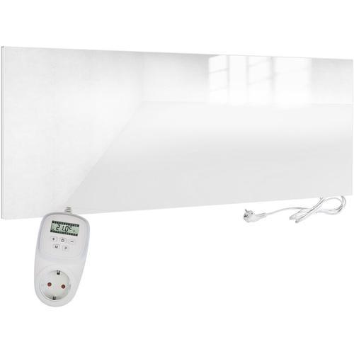 VIESTA H700-GW Glas Infrarotheizung 700 Watt, weiß, mit Ein-Ausschalter + VIESTA TH12 Thermostat