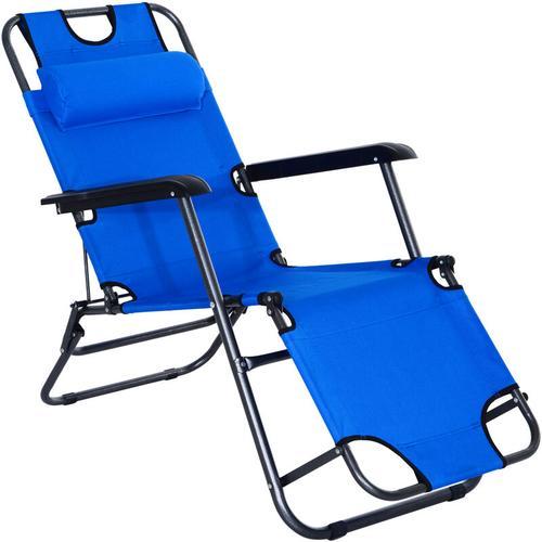 ® Gartenliege Klappbar Sonnenliege Relaxliege Strandliege 2-Stufig Kissen Blau - blau - Outsunny