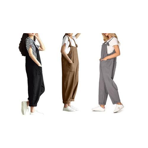 Ärmelloser Damen-Jumpsuit: Khaki/ Gr. 36