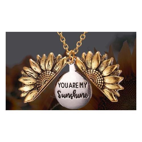 Halskette mit Sonnenblumen-Anhänger: Gold / 2