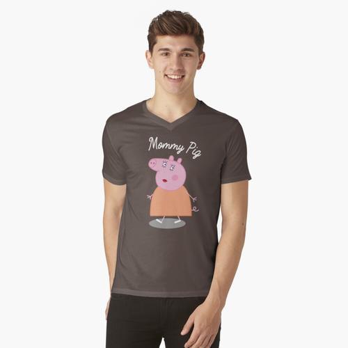 Mama Schwein T-Shirt Lustiges Schwein T-Shirt t-shirt:vneck