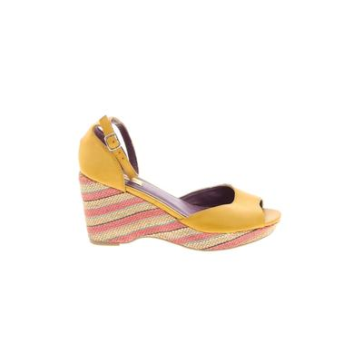 Promise Shoes Wedges: Yellow Stripes Shoes - Size 7 1/2