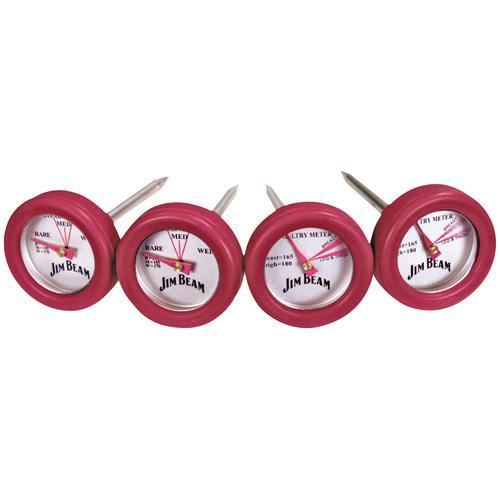 Jim Beam BBQ Grillthermometer, 2 Thermometer für Steak und Geflügel rot Grillbesteck Grillzubehör Haushaltswaren Grillthermometer