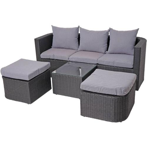 3in1-Garnitur HHG-282, Garten-/Lounge-Set Sonneninsel, Spun Poly halbrundes Poly-Rattan ~