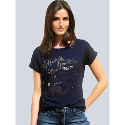 Alba Moda, Shirt mit Folienprint im Vorderteil, blau