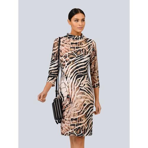 Alba Moda, Kleid mit tollem Foliendruck, beige