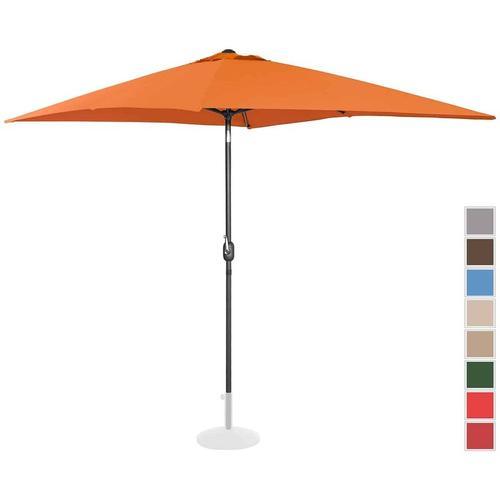 Uniprodo Sonnenschirm groß Gartenschirm (rechteckig, 200 x 300 cm, neigbar, orange)