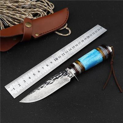Couteau damas à lame fixe tactiq...