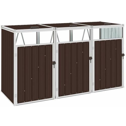 Vidaxl - Mülltonnenbox für 3 Mülltonnen Braun 213×81×121 cm Stahl