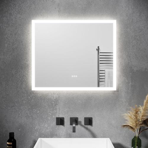LED Badspiegel mit Beleuchtung Touch 60x50cm Bluetooth Beschlagfrei Badezimmerspiegel LED