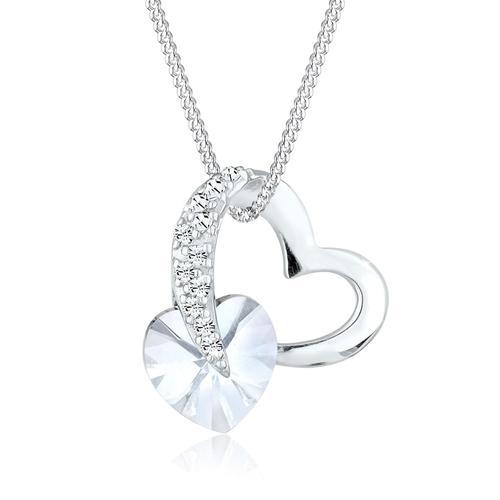 Halskette Herz Love Rosa Kristalle 925 Silber Elli Weiß