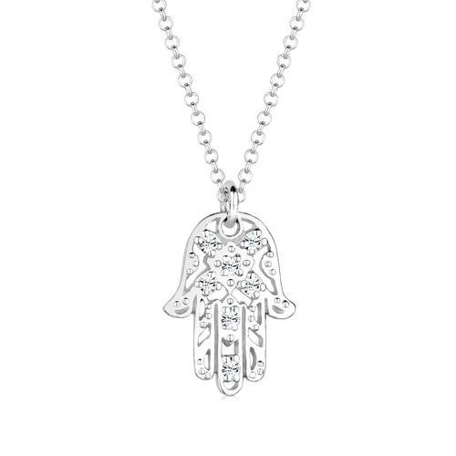 Halskette Hamsa Hand Fatima Kristalle 925 Silber Elli Silber