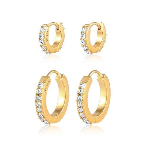 Ohrringe 2Er Set Creolen Kristalle 925 Silber Elli Gold