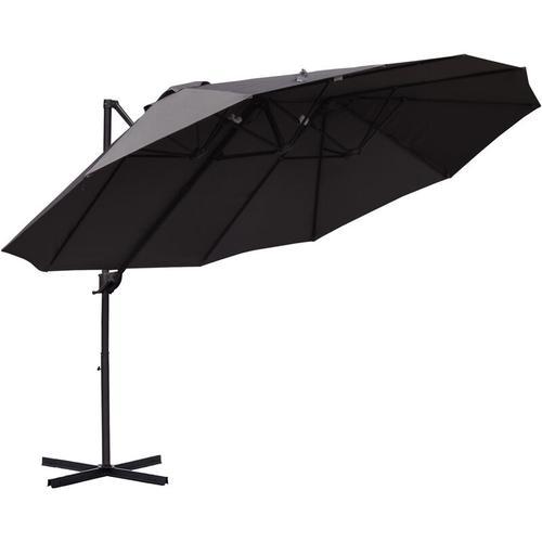 ® Sonnenschirm mit Kurbel Doppelschirm Gartenschirm Sonnenschutz Metall Grau - dunkelgrau - Outsunny