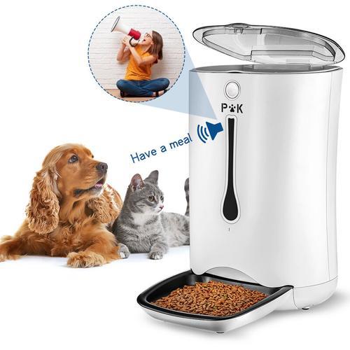 Futterautomat für Hunde und Katze, 7L Automatischer Futterspender Fressnapf mit Timer/Tonaufnahme