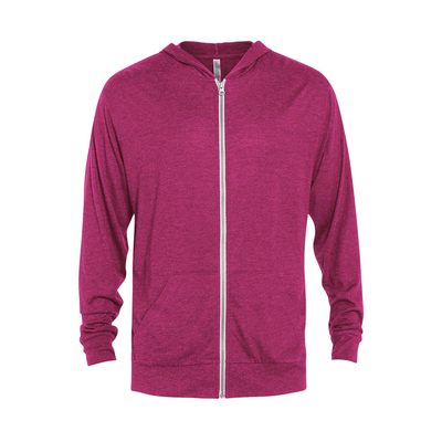 Platinum P910T Delta Adult Tri-Blend Full Zip Hoodie in Berry Heather size XL | Polyester/Cotton/Rayon