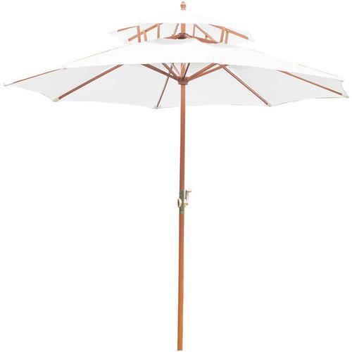 Outsunny® Holz Sonnenschirm Gartenschirm Balkonschirm Doppeldach 2,7m - weiß/braun