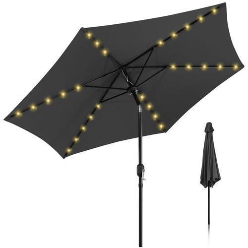 Sonnenschirm Ø 300cm Alu Marktschirm mit Warmweiß Solar-Beleuchtung Gartenschirm Terrassenschirm UV