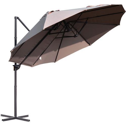 ® Sonnenschirm mit Kurbel Doppelschirm Gartenschirm Sonnenschutz Metall Braun - braun - Outsunny