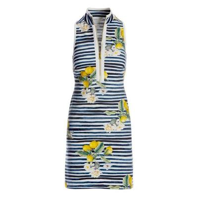 Boston Proper - Lemon Racerback Chic Zip Dress - Navy/white - X Large
