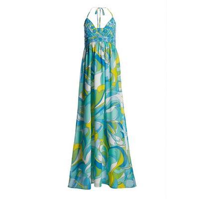Boston Proper - Capri Waters Embellished Maxi Dress - Blue Multi - Large