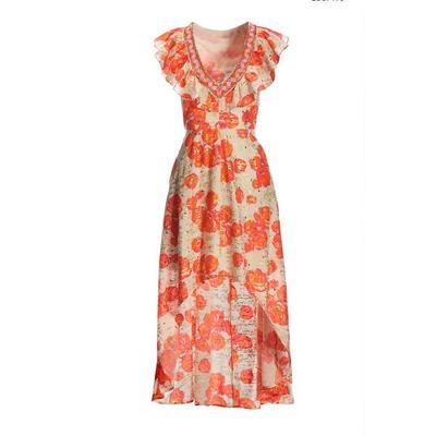 Boston Proper - Embellished Ruffle High-Low Dress - Pink Multi - 04