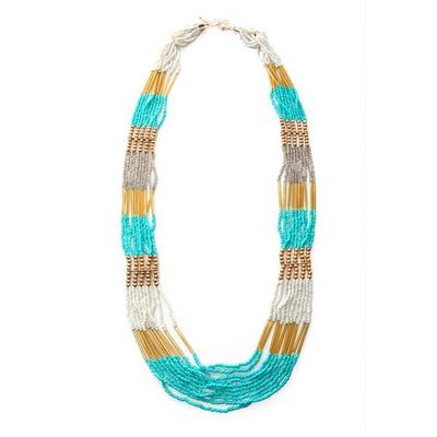 Boston Proper - Turquoise Beaded Long Necklace - Turquoise/gold - One Size