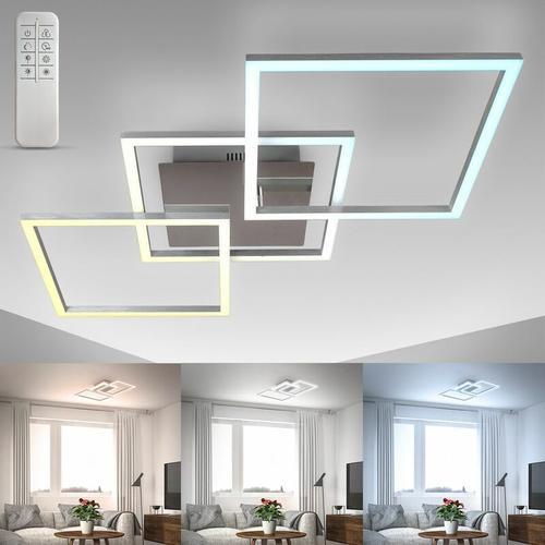 LED Deckenlampe dimmbar CCT Leuchte Fernbedienung chrom-alu 20W Nachtlicht Timer