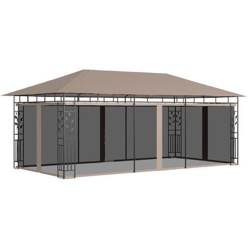 Pavillon mit Moskitonetz 6x3x2,73 m Taupe 180 g/m²