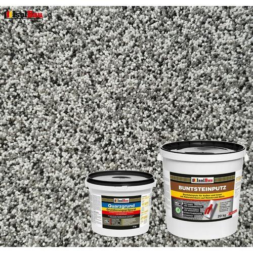 Isolbau - Buntsteinputz SET Mosaikputz BP20 (grau, weiss, schwarz) 20 kg + Quarzgrund 4 kg