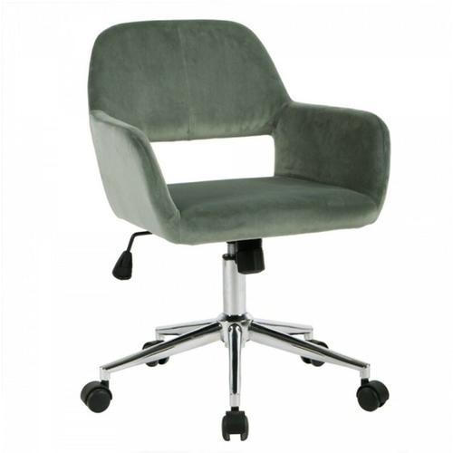 Bürostuhl aus Samt einstellbar Grün - Calicosy