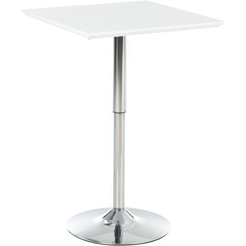 ® Bistrotisch Pub Bartisch Höhenverstellbarer Quadratischer Stehtisch Tisch Stahl Weiß - weiß