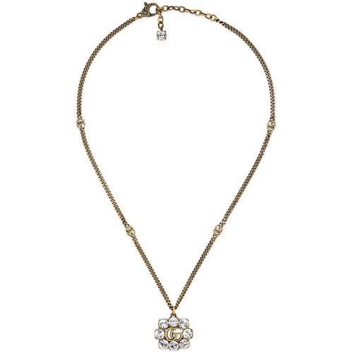Gucci Doppel G Halskette mit Kristallen