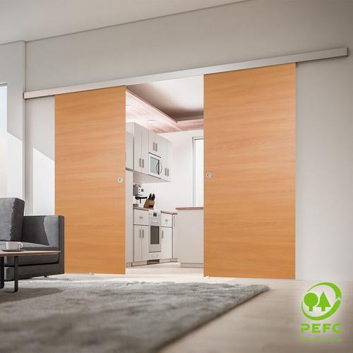 Tür doppelflügelige Schiebetür Holz Buche 1760x2035 Doppel Holztür Schiebetürsystem