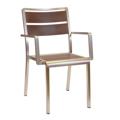emu A1120 Outdoor Stacking Armchair w/ Wood-Look Aluminum Slat Back & Seat - Aluminum Frame, Black