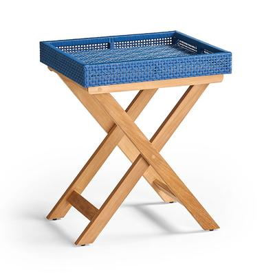 Peralta Woven Side Table - Gray Wicker with Weathered Teak - Frontgate