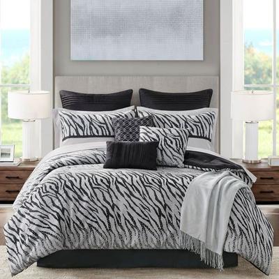 Kenya Comforter Bed Set Black, King, Black