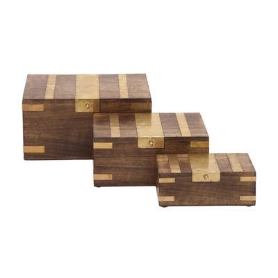 """( Set of 3 ) Brown Mango Wood Traditional Box, 8"""", 10"""", 12"""" - 30942"""