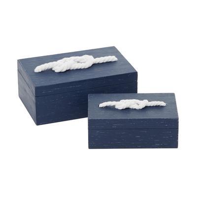 Blue Wood Farmhouse Box, 4 x 8 x 5 - 35883